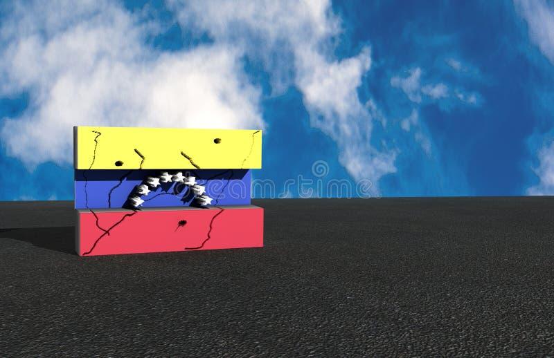在3d例证的委内瑞拉旗子 免版税库存照片