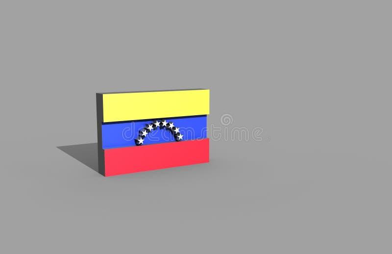 在3d例证的委内瑞拉旗子 库存照片