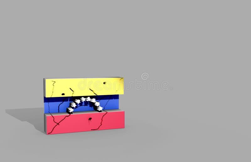 在3d例证的委内瑞拉旗子 库存图片