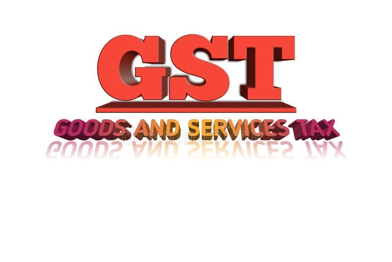 在3d例证的GST词 免版税图库摄影