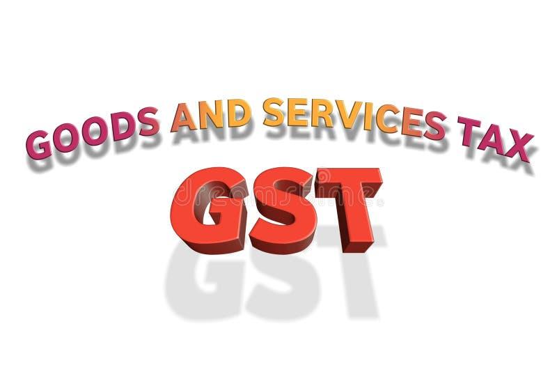 在3d例证的GST词 免版税库存照片