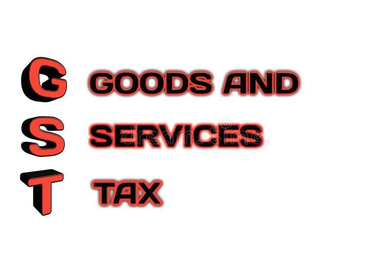 在3d例证的GST词 免版税库存图片