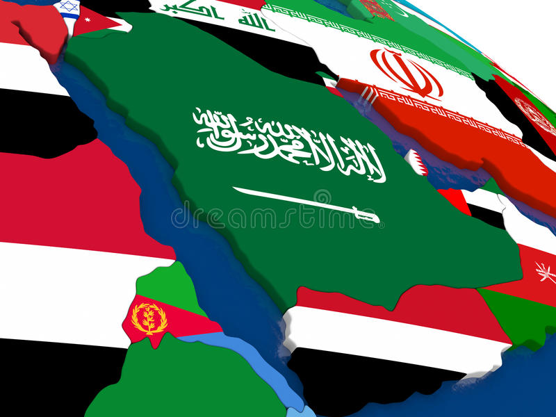 在3D地图的阿拉伯半岛与旗子 库存例证