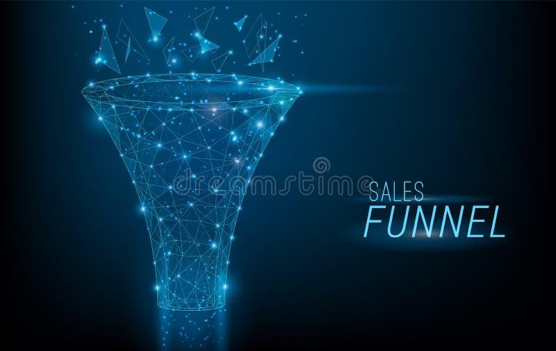 在3D多角形样式设计的销售漏斗,包括点、线和形状在深蓝背景 导航大 向量例证