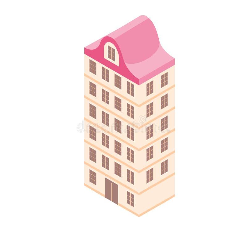 在3d平的样式的等量大厦 城市地图的传染媒介例证 向量例证