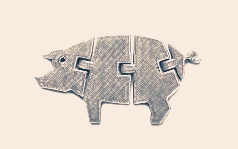在 3d打印机打印的猪玩具形状的明亮的淡黄色对象 免版税库存照片