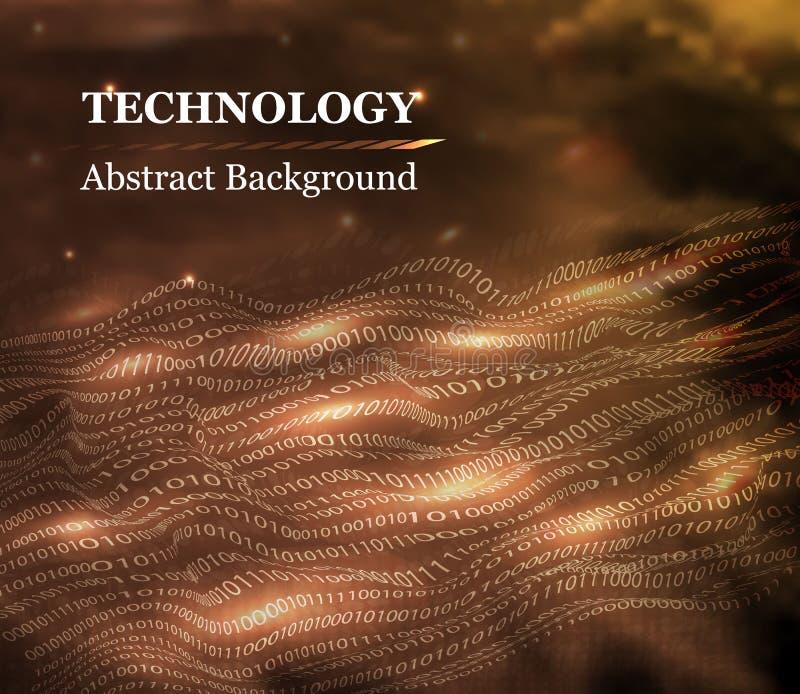 在3D波浪样式的抽象二进制编码在金子颜色 数字技术的技术设计观念仿照现实主义样式的 向量例证