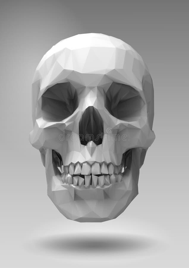 在3d的低多传染媒介头骨回报神色 向量例证