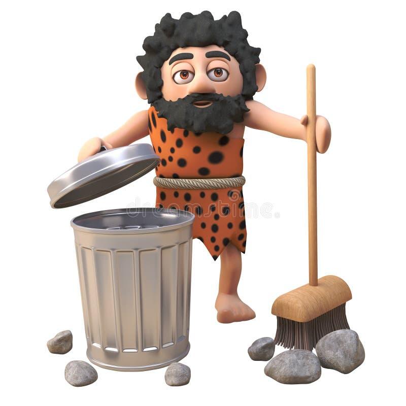 在3d的史前穴居人字符清扫与他的笤帚的有些岩石入垃圾容器,3d例证 库存例证