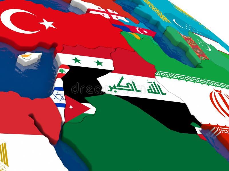 在3D的以色列、黎巴嫩、约旦、叙利亚和伊拉克地区映射与fl 向量例证