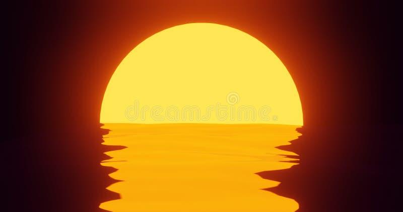 在80s样式3d的日落海报回报场面在海洋的太阳反射,现代平的颜色 库存例证