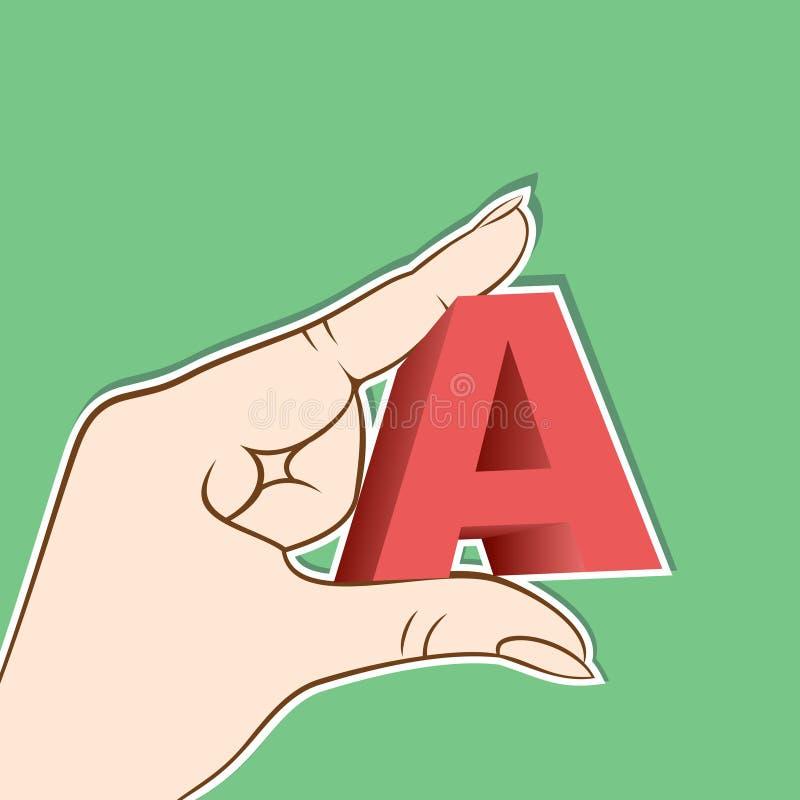 在A举行手中设计上写字 库存例证