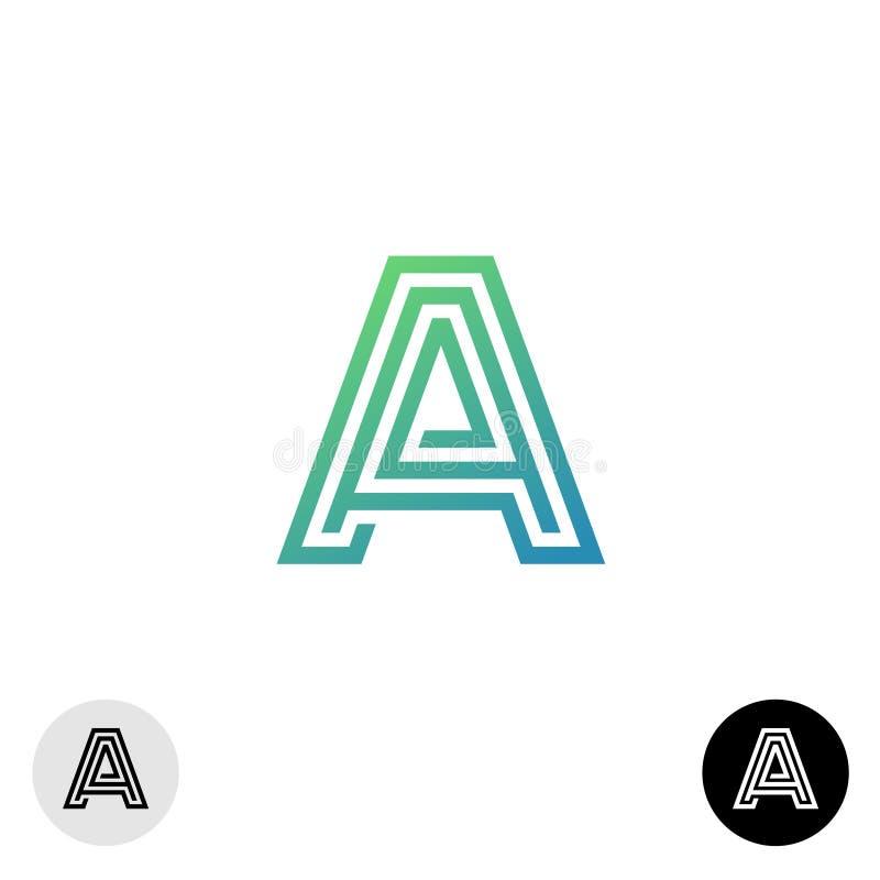 在A线性迷宫样式商标上写字 向量例证