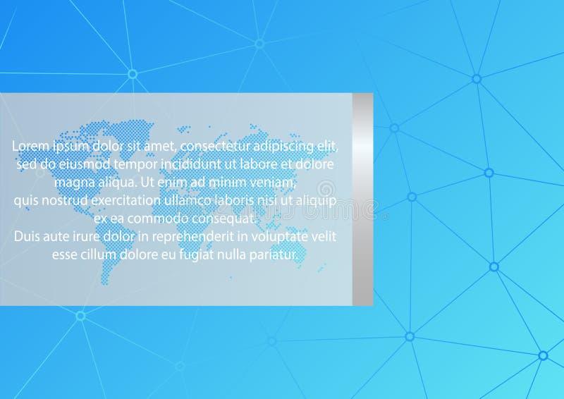 在A4大小的传染媒介布局 抽象蓝色三角样式 与样品文本的世界地图 事务的多角形背景 皇族释放例证