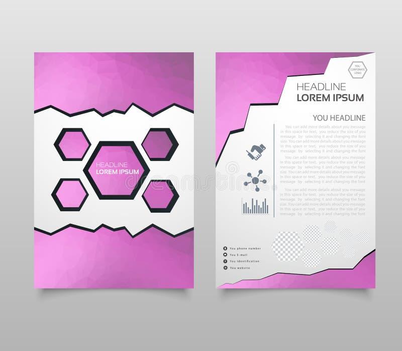 在A4大小的抽象三角小册子飞行物设计 小册子模板布局,盖子设计年终报告,杂志,与几何 向量例证