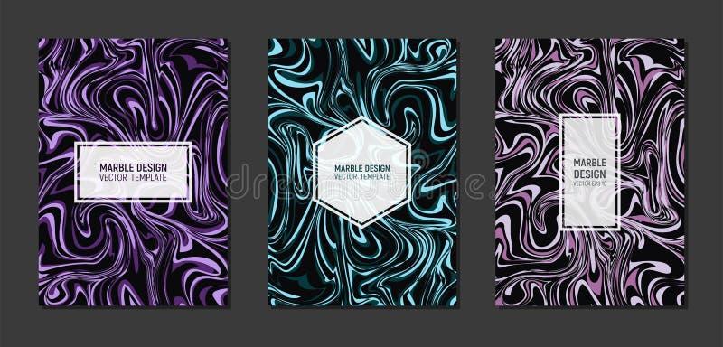 在A4大小的现代大理石模板封面设计 液体大理石纹理 可变的艺术 丙烯酸漆混合物  库存例证