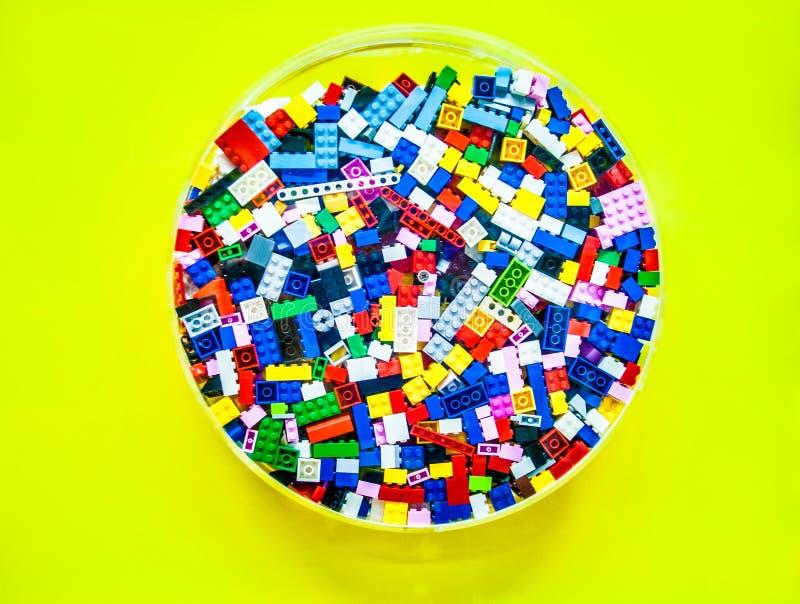 在aclilic的圈子的塑料玩具块 免版税库存图片
