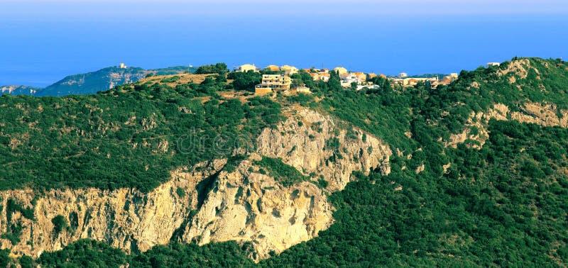 在Afionas的看法在科孚岛海岛上 库存图片
