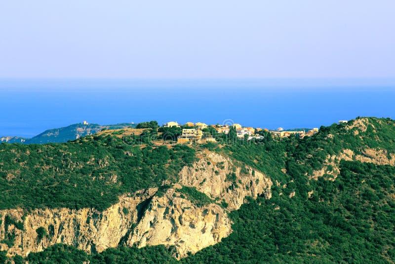 在Afionas的看法在科孚岛海岛上 图库摄影