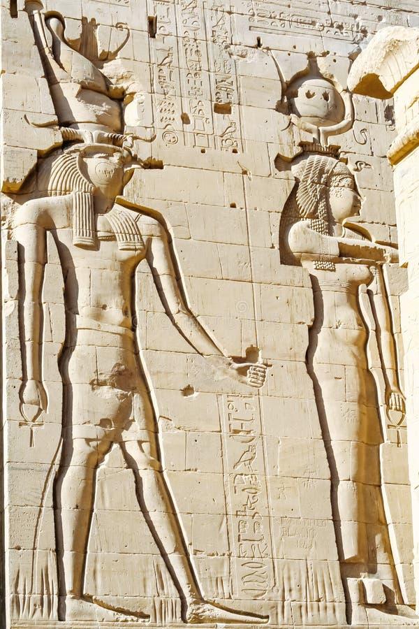 在Agilkia海岛上的菲莱寺庙在阿斯旺,埃及附近的纳赛尔湖 库存照片