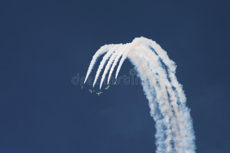 在airshow的快速的喷气机显示队 免版税库存照片