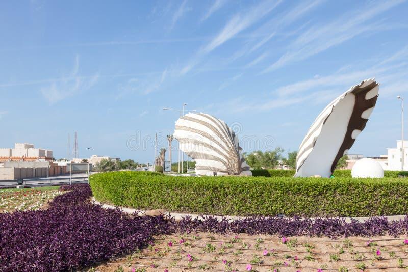 在Al Ruwais,卡塔尔的珍珠环形交通枢纽 库存照片