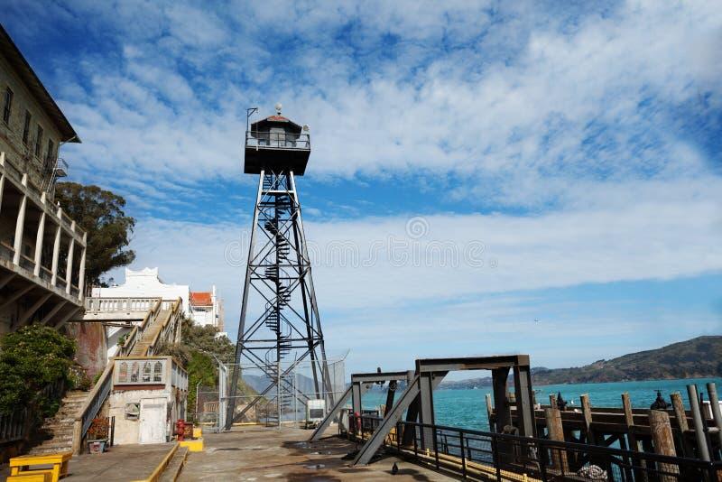 在Alcatraz监狱的手表塔 库存照片