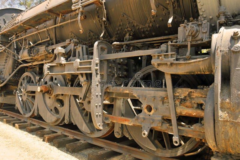 在ALCO机车的驱动轮 库存图片