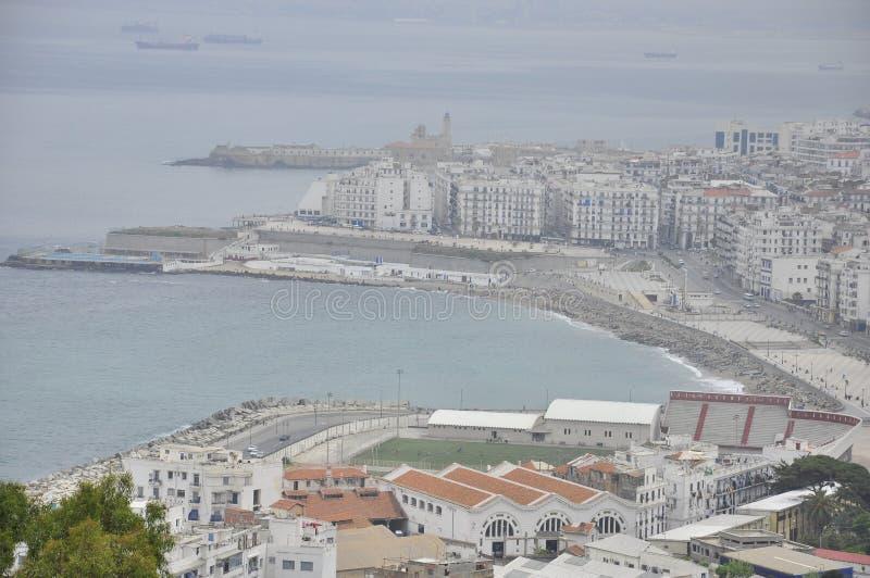 在Alger,阿尔及利亚海湾的看法  免版税图库摄影