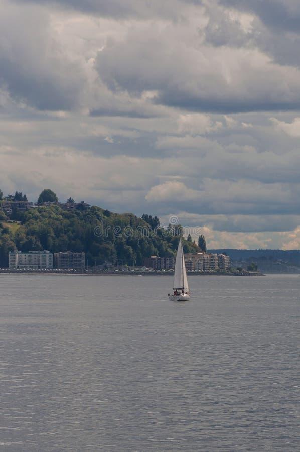 在Alki海滩前面的小船游泳 免版税库存照片