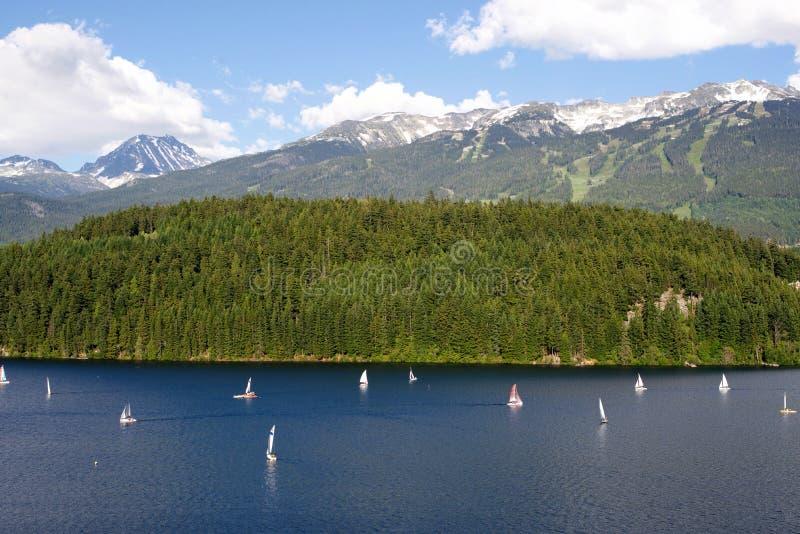 在Alta湖,吹口哨的风船 库存图片