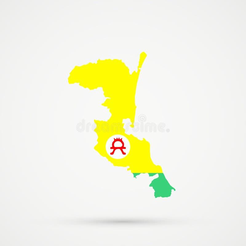 在Altaians俄罗斯族群旗子颜色的Kumykia达吉斯坦地图,编辑可能的传染媒介 向量例证