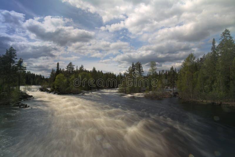 在Ammeraan瑞典河的长的曝光视图  库存照片