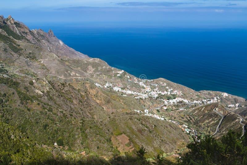 在Anaga山的Taganana,特内里费岛,西班牙 免版税图库摄影