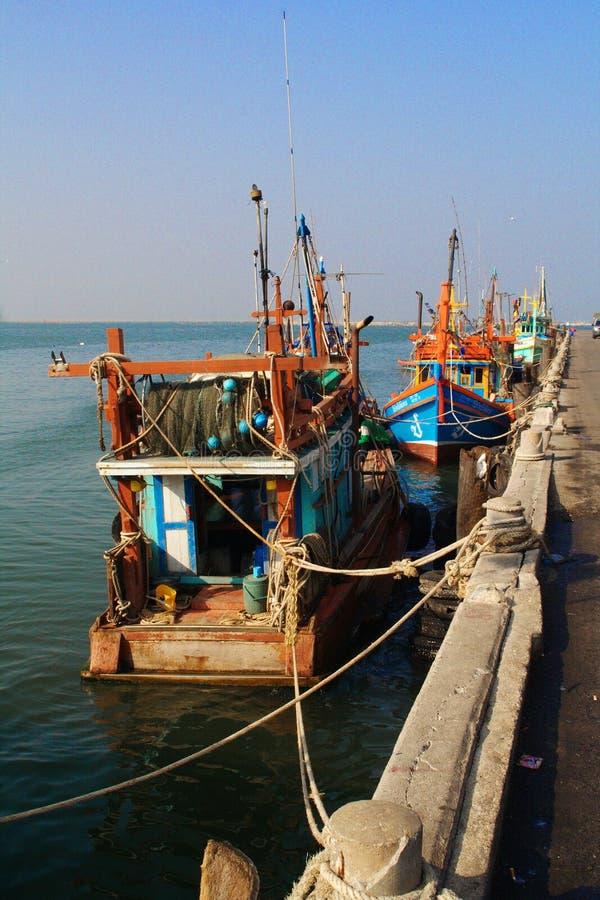 在Ang Sila港口的渔船 图库摄影