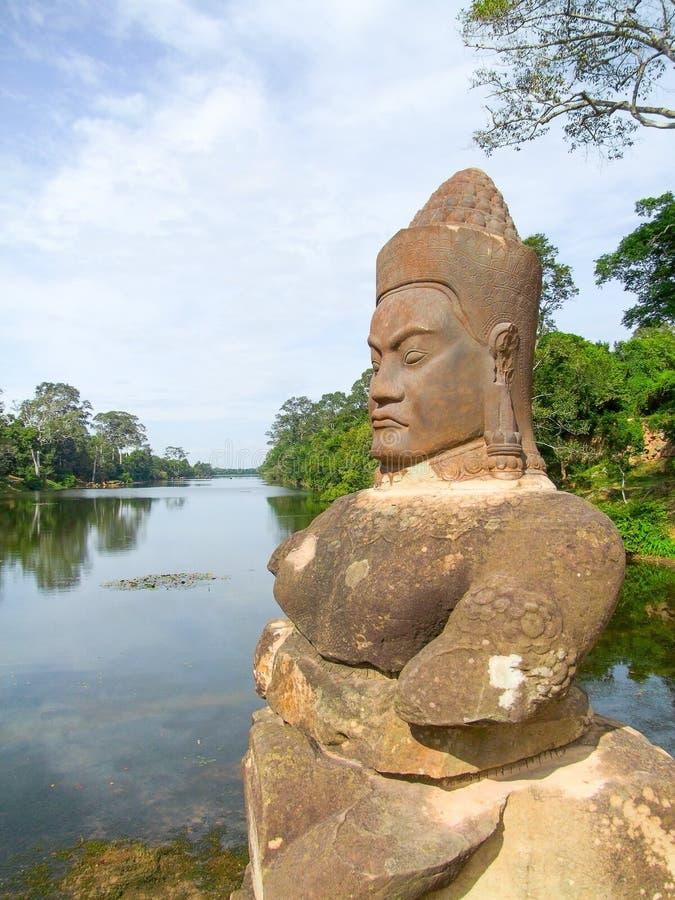在Ankor Thom的寺庙细节 免版税库存图片