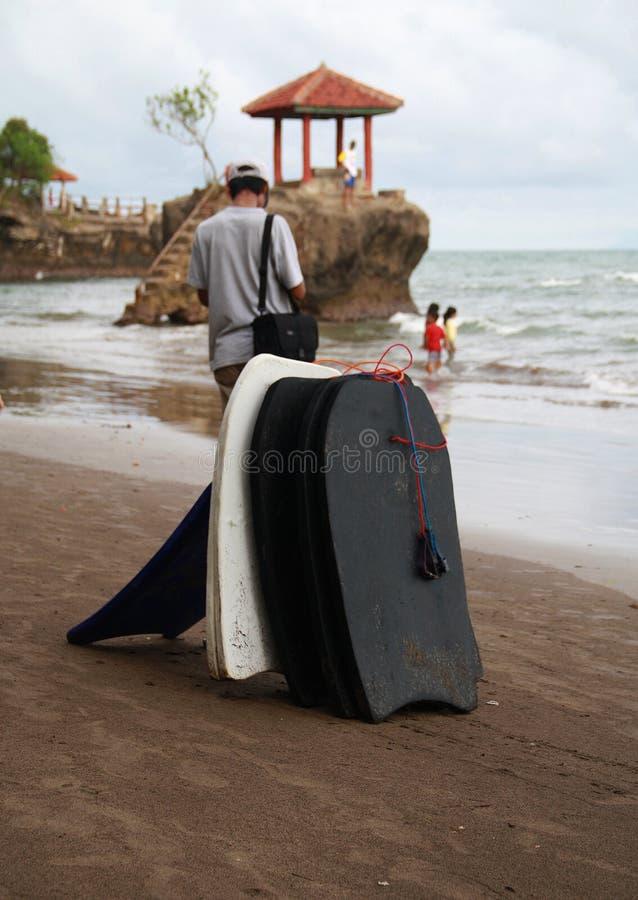 在Anyer的冲浪板 免版税库存照片