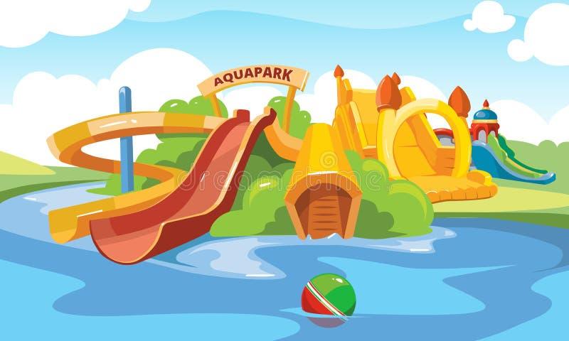 在aquapark的水滑道 向量例证