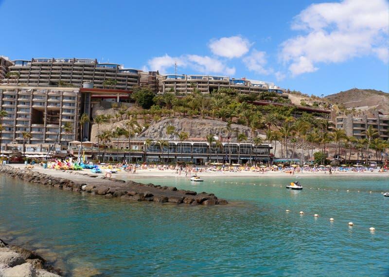 在Arguineguin附近的Anfi Del Mar手段在大加那利岛,西班牙 免版税库存照片