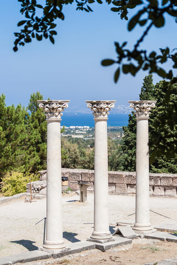 在Asclepeion古老站点的专栏在Kos海岛,希腊 免版税图库摄影