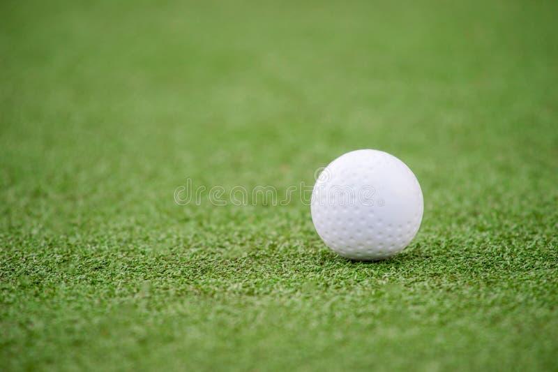 在astro草皮的白色笑涡曲棍球球 免版税库存图片