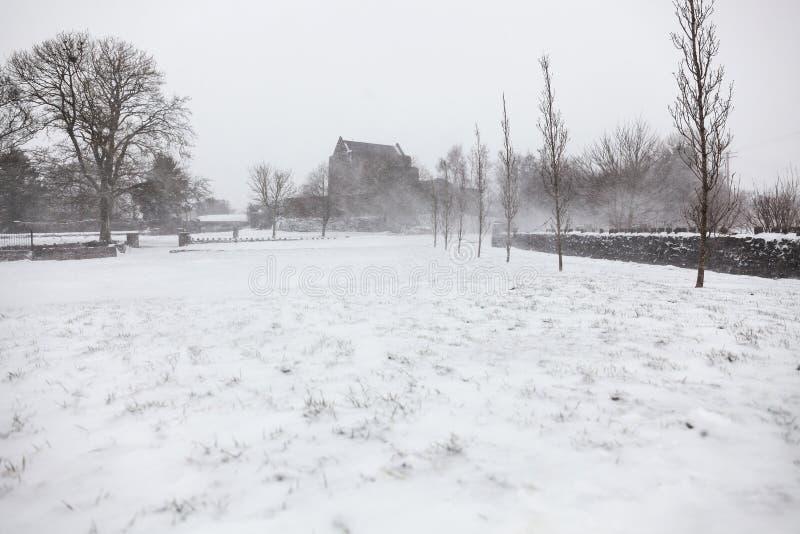 在Athenry城堡的大雪 图库摄影