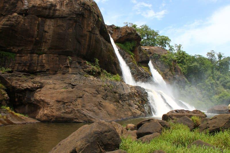 在Athirapally,喀拉拉的瀑布 库存图片