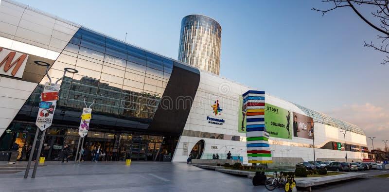在Aurel Vlaicu附近的Promenada购物中心在布加勒斯特 库存照片