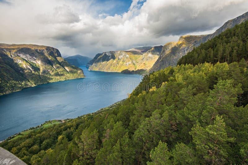在Aurland, Sogn og Fjordane,挪威附近的Aurlandsfjord 图库摄影