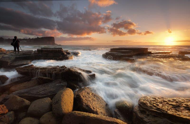 在Avalon海滩的日出 库存图片