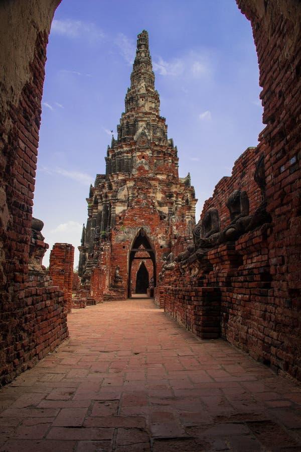 在ayudthaya,泰国的老stupa 图库摄影