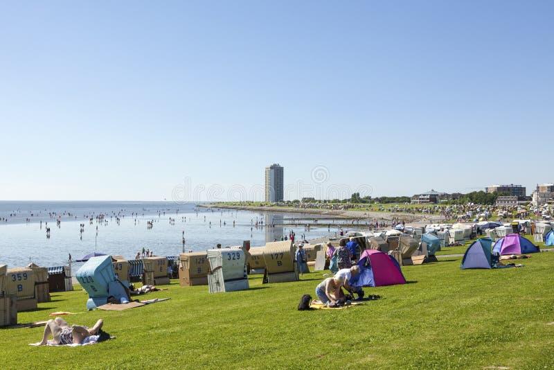在BÃ ¼总和的北海海滩,德国 免版税库存照片