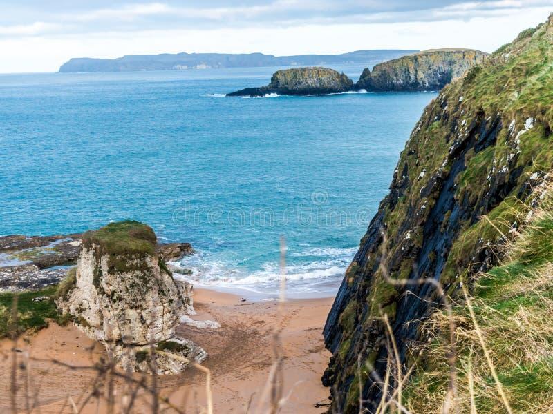 在Ballintoy、Carrick-a-Rede和巨型` s堤道,北部安特里姆海岸附近的绵羊海岛 免版税库存图片