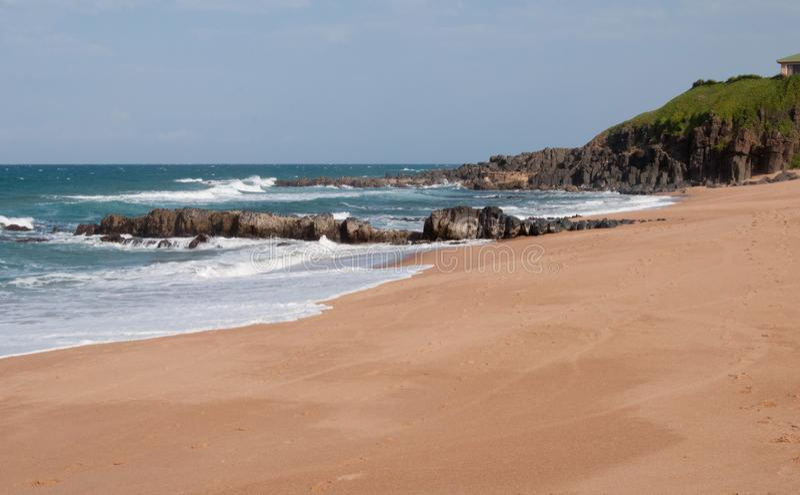 在Ballito, KZN,南非的海滩 免版税库存图片